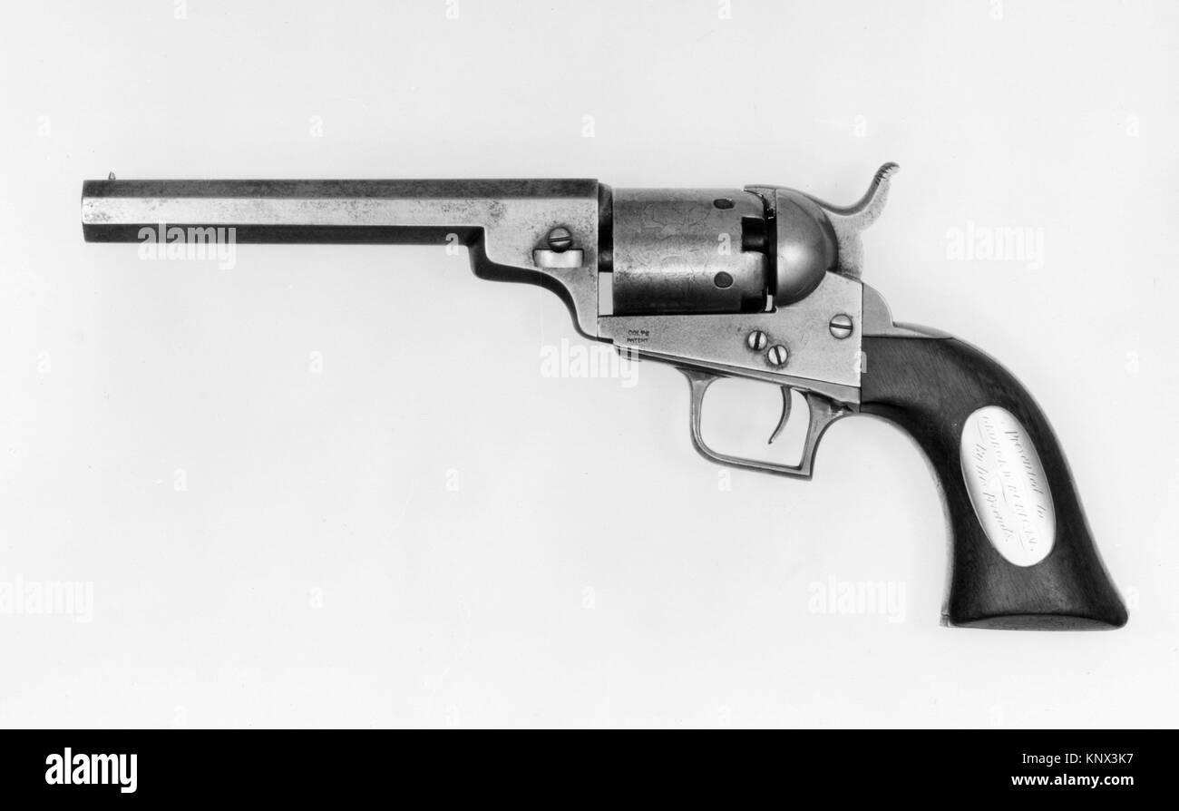 Pocket Model Colt Revolver. Date: 1848; Geography: New York City, New York; Culture: American; Medium: Steel, wood, - Stock Image