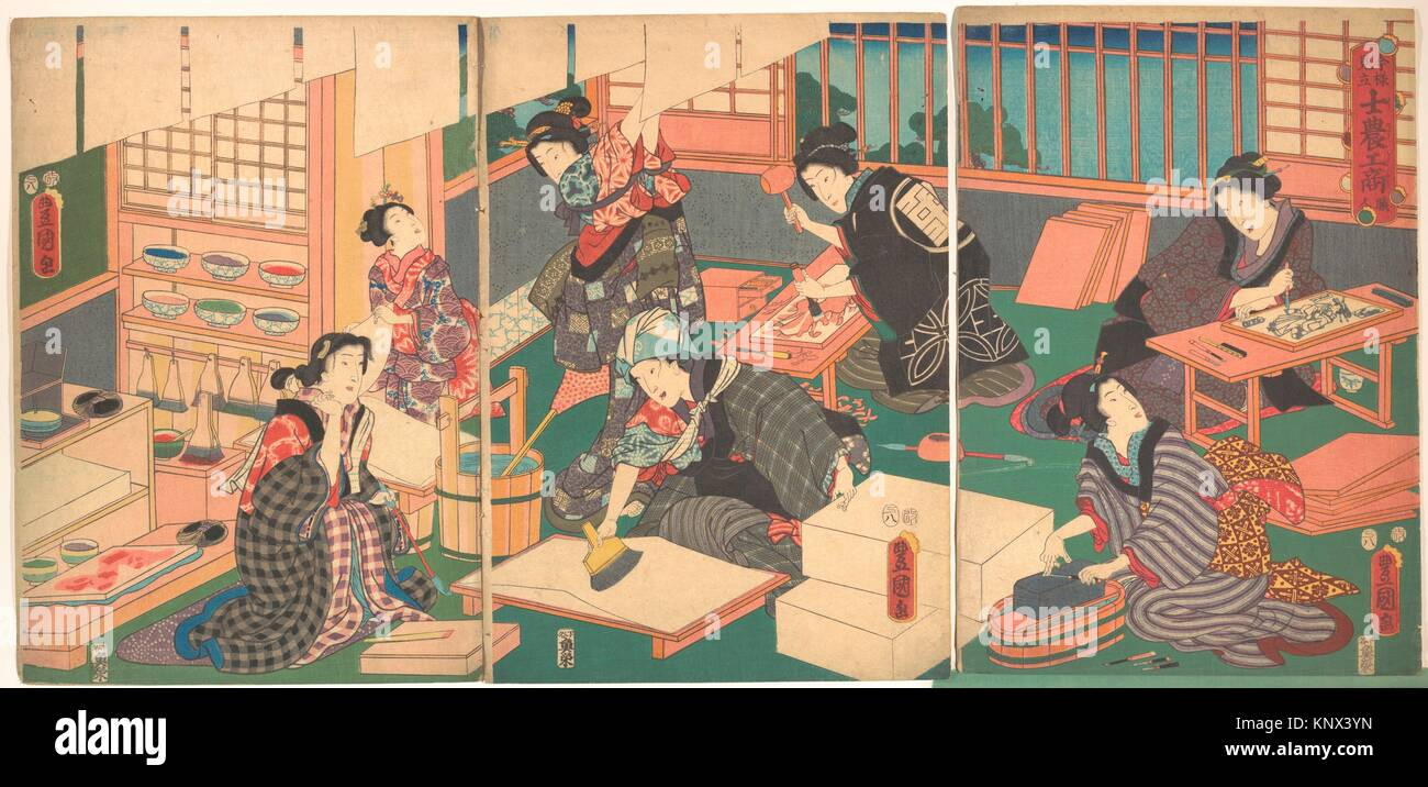 Artisans, from the series An Up-to-Date Parody of the Four Classes. Artist: Utagawa Kunisada (Japanese, 1786-1865); - Stock Image