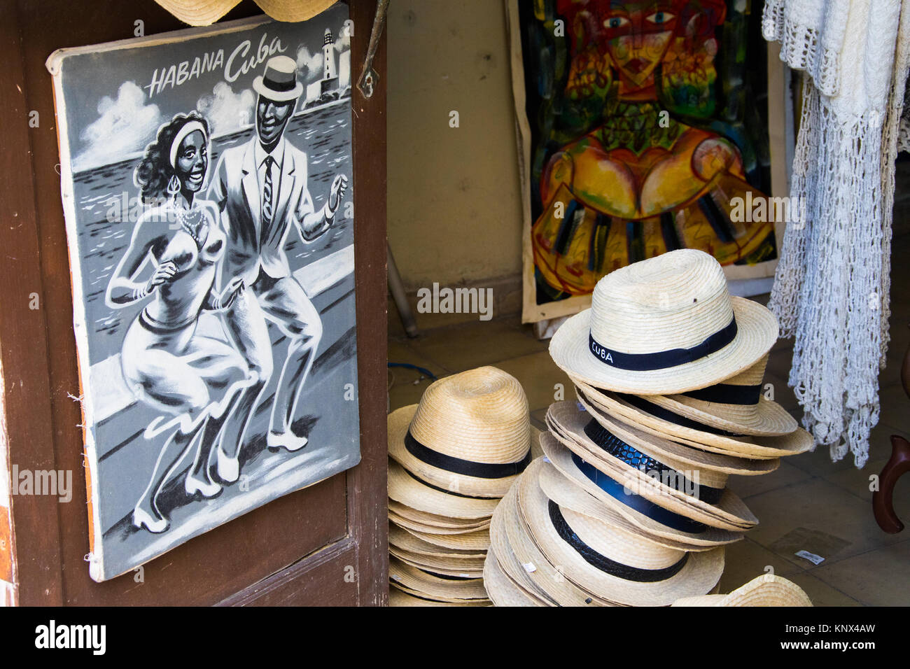 Souvenir hats in a shop in Havana, Cuba - Stock Image
