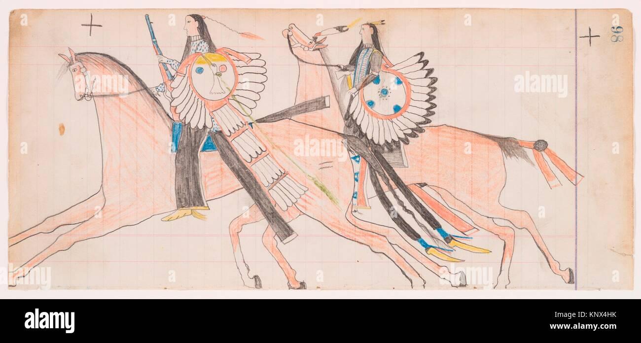 Off to War (Henderson Ledger Artist B). Artist: Frank Henderson (Native American, Hinono'eiteen (Arapaho), 1862 - Stock Image