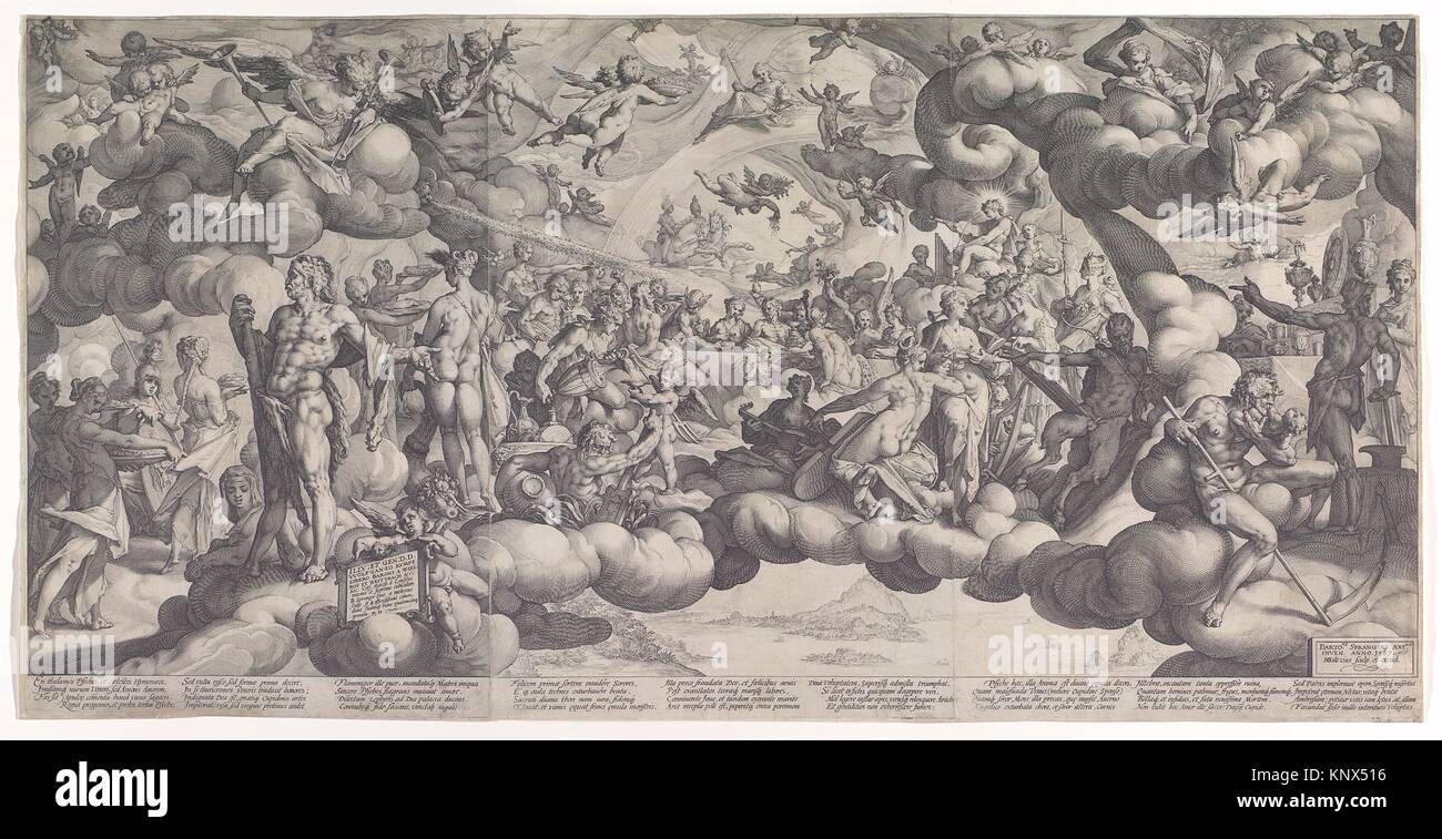 The Feast of the Gods at the Marriage of Cupid and Psyche. Artist: Hendrick Goltzius (Netherlandish, Mühlbracht Stock Photo