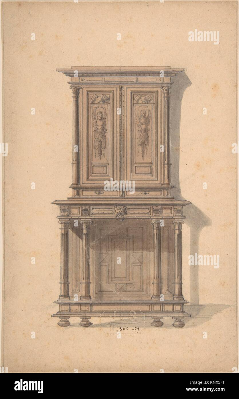 Design For A Wooden Cabinet In French Renaissance Style. Artist: Anonymous,  French, 19th Century; Designer: Designed By J. S. (French, 1850 1900);