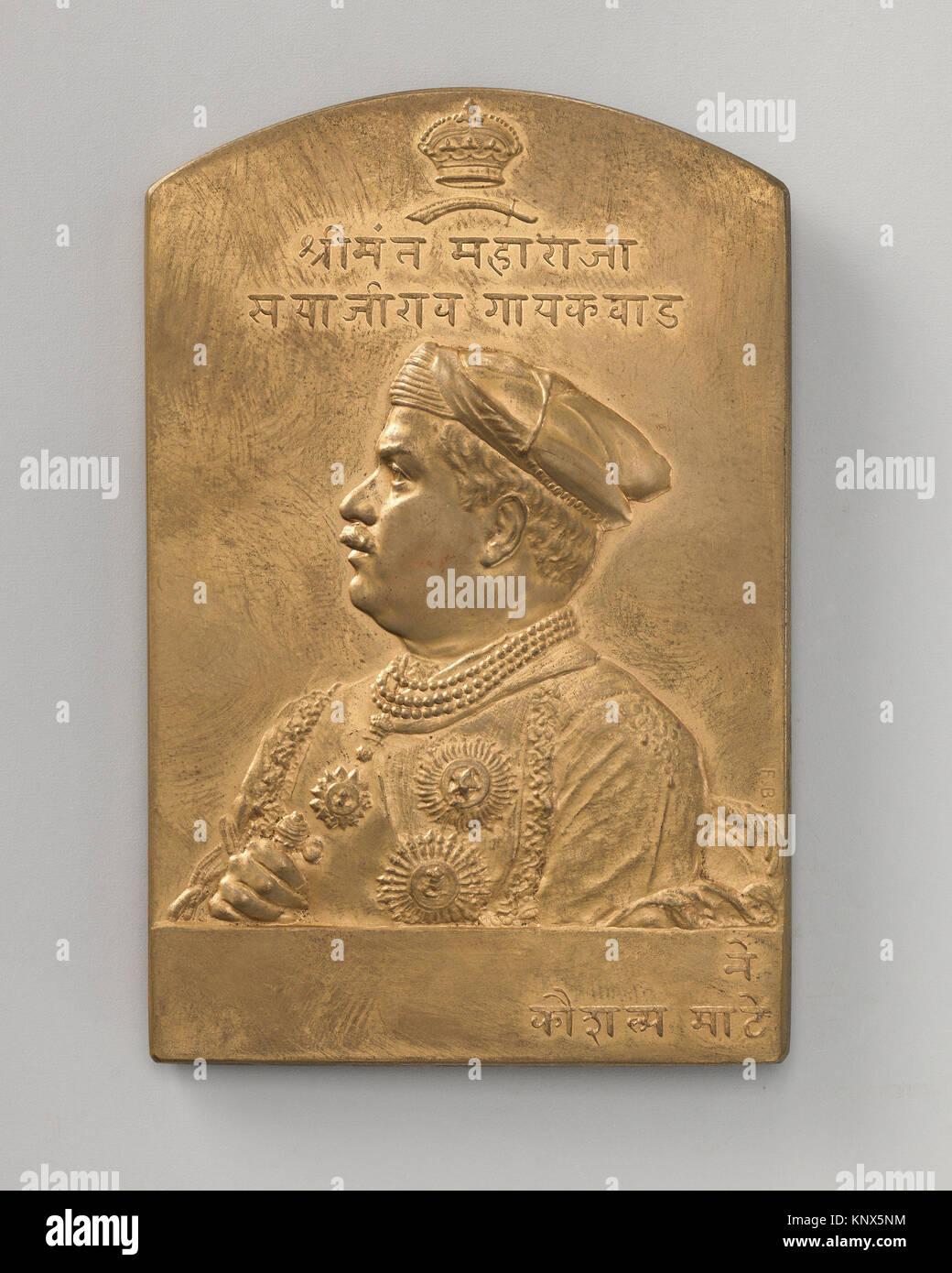 Commemorating the rulers of the Baroda State, Sayaji Rao, Gaekwar, (1820-48) (one of a set of eight). Artist: Medalist: - Stock Image