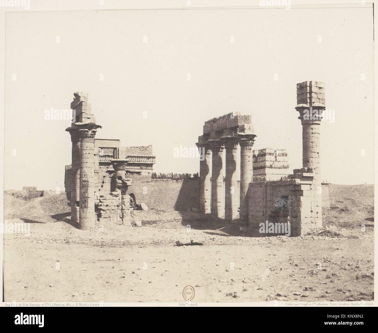 Erment (Hermonthis), Vue Générale des Ruines -Temple et Mammisi. Artist: Félix Teynard (French, 1817 - Stock Image