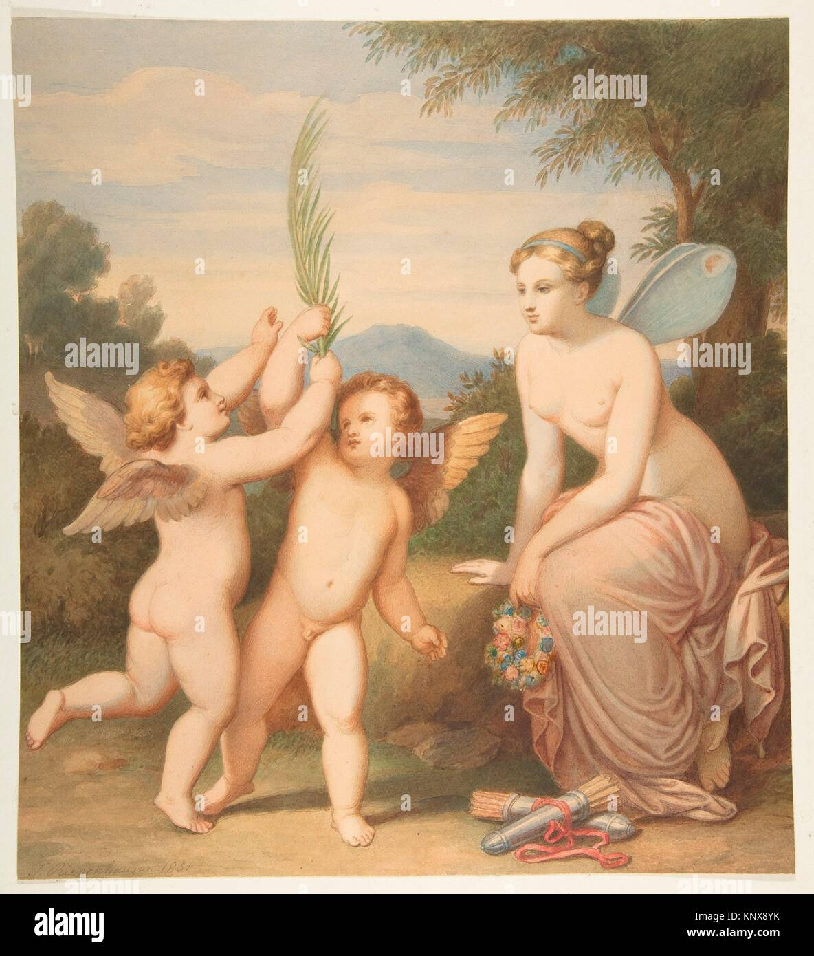Eros and Anteros with Psyche Looking at Them. Artist: Johannes Riepenhausen (German, Goettingen 1788-1860 Venice); - Stock Image