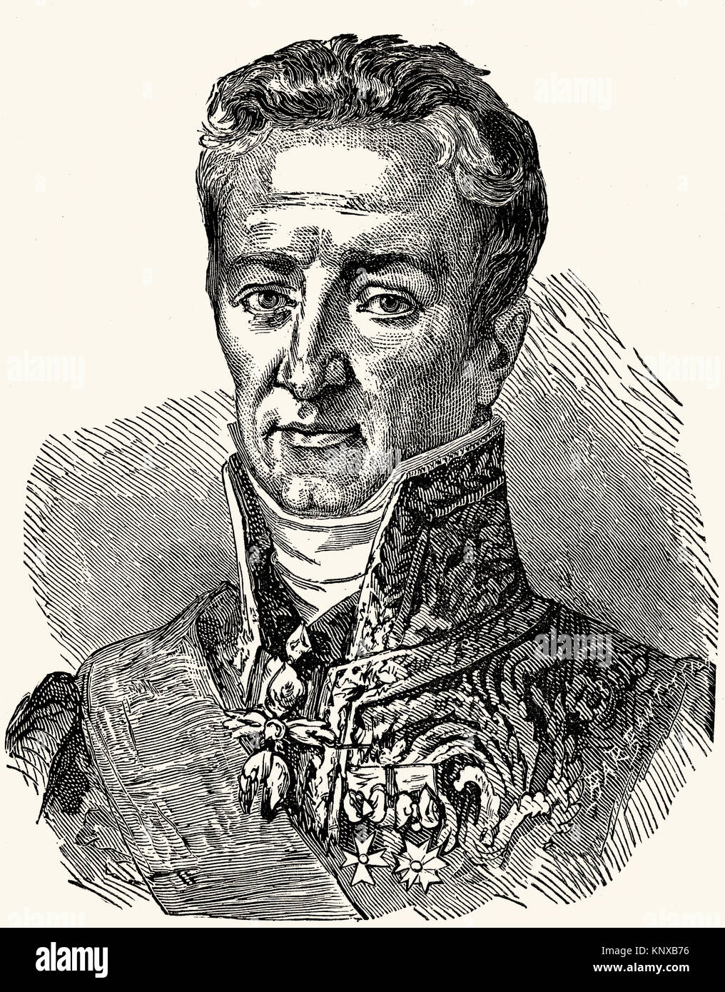Jean-Baptiste Guillaume Joseph Marie Anne Séraphin, Count of Villèle, 1773 –1854, a French statesman - Stock Image