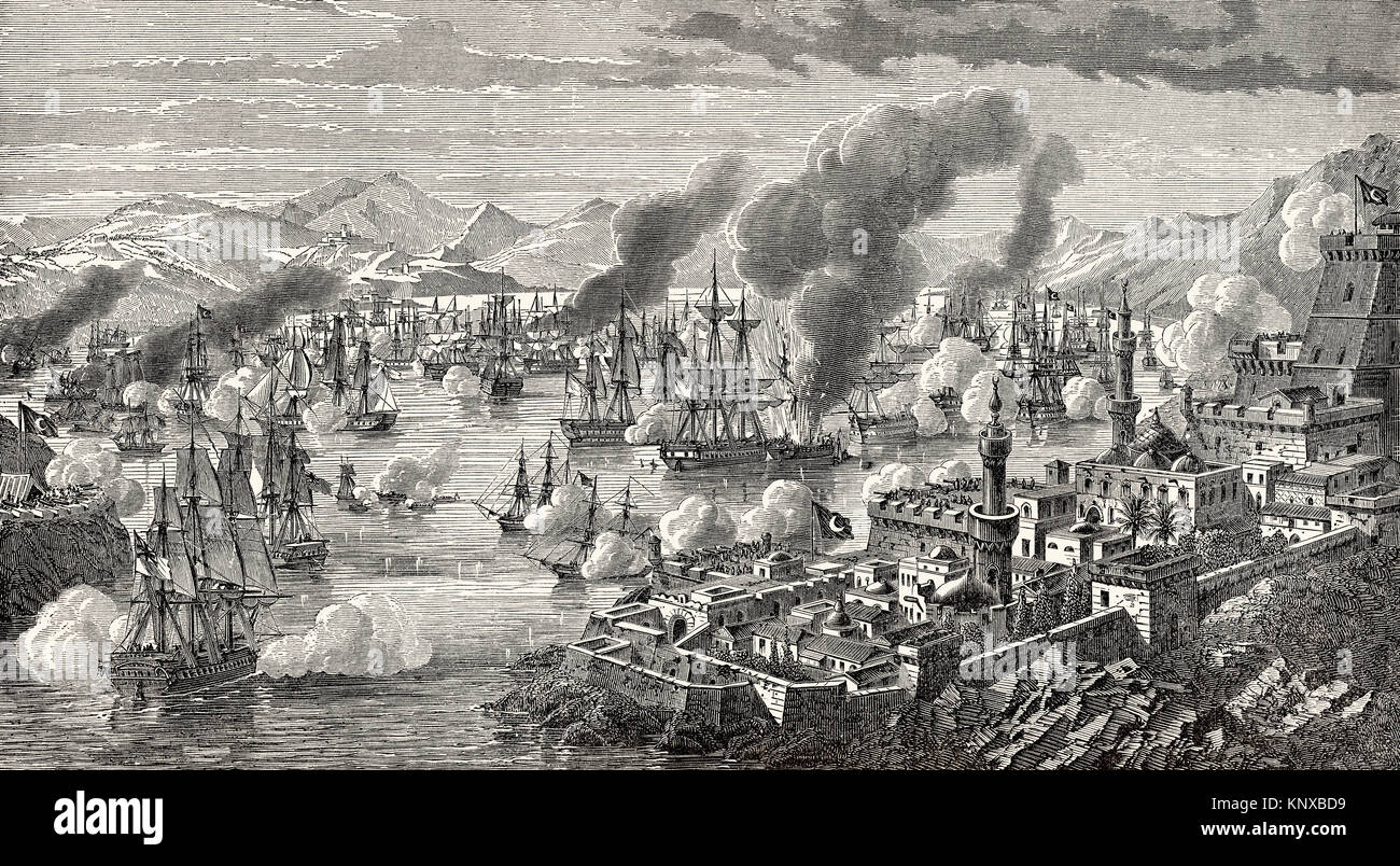 The Battle of Navarino on 20 October 1827, during the Greek War of Independence - Stock Image