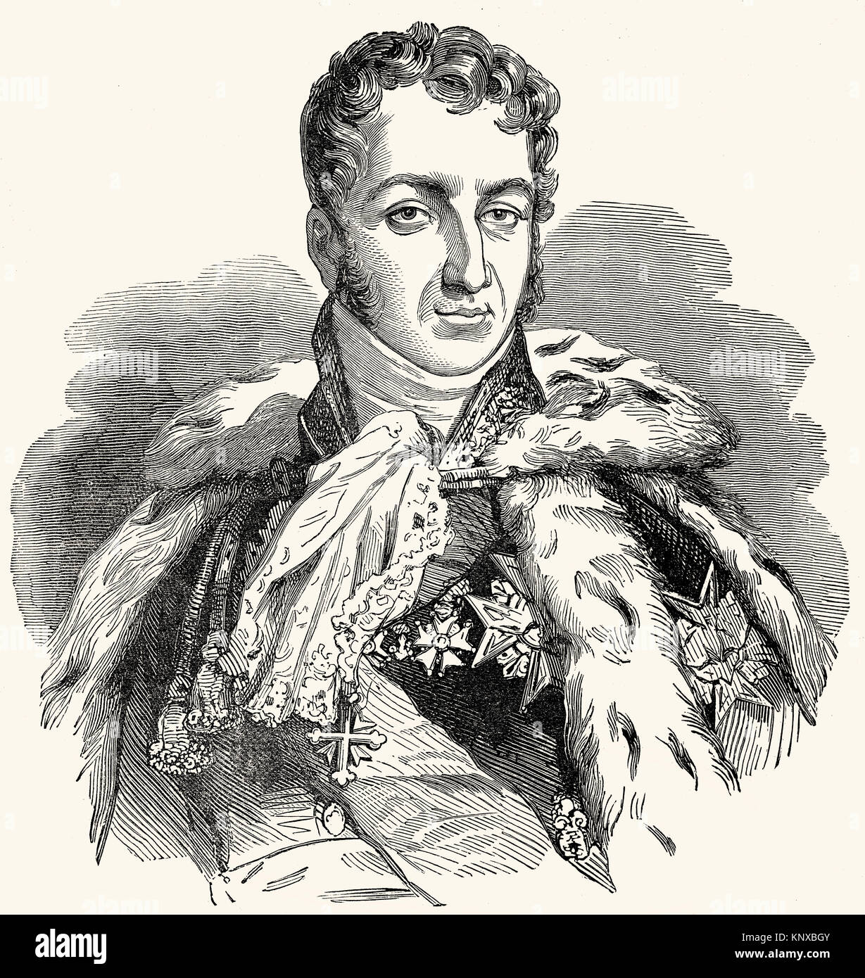 Prince Jules Auguste Armand Marie, Count of Polignac, 1780 –1847, 3rd Duke of Polignac, a French statesman - Stock Image