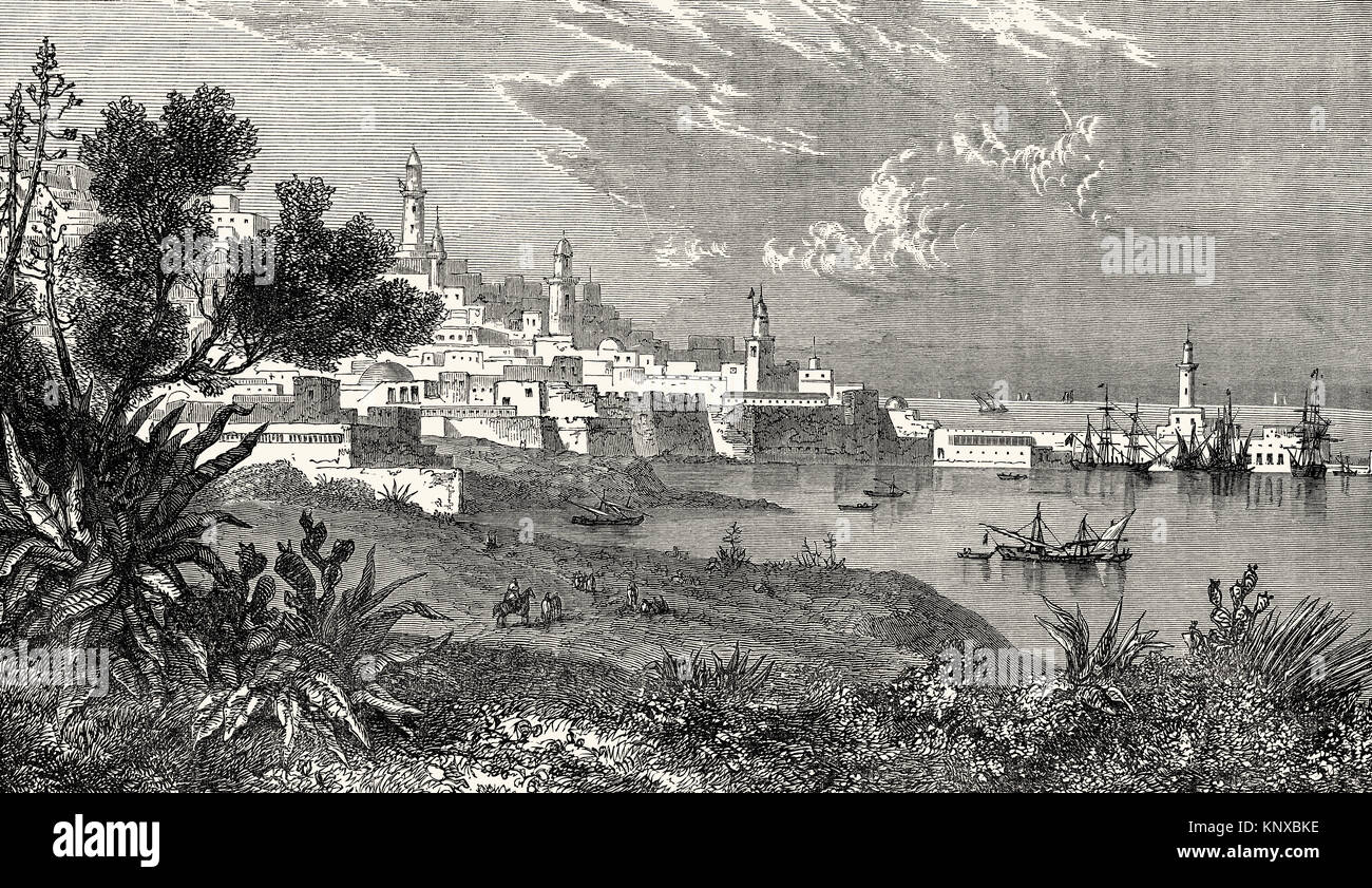Cityscape of Algiers, Algeria, 19th century - Stock Image