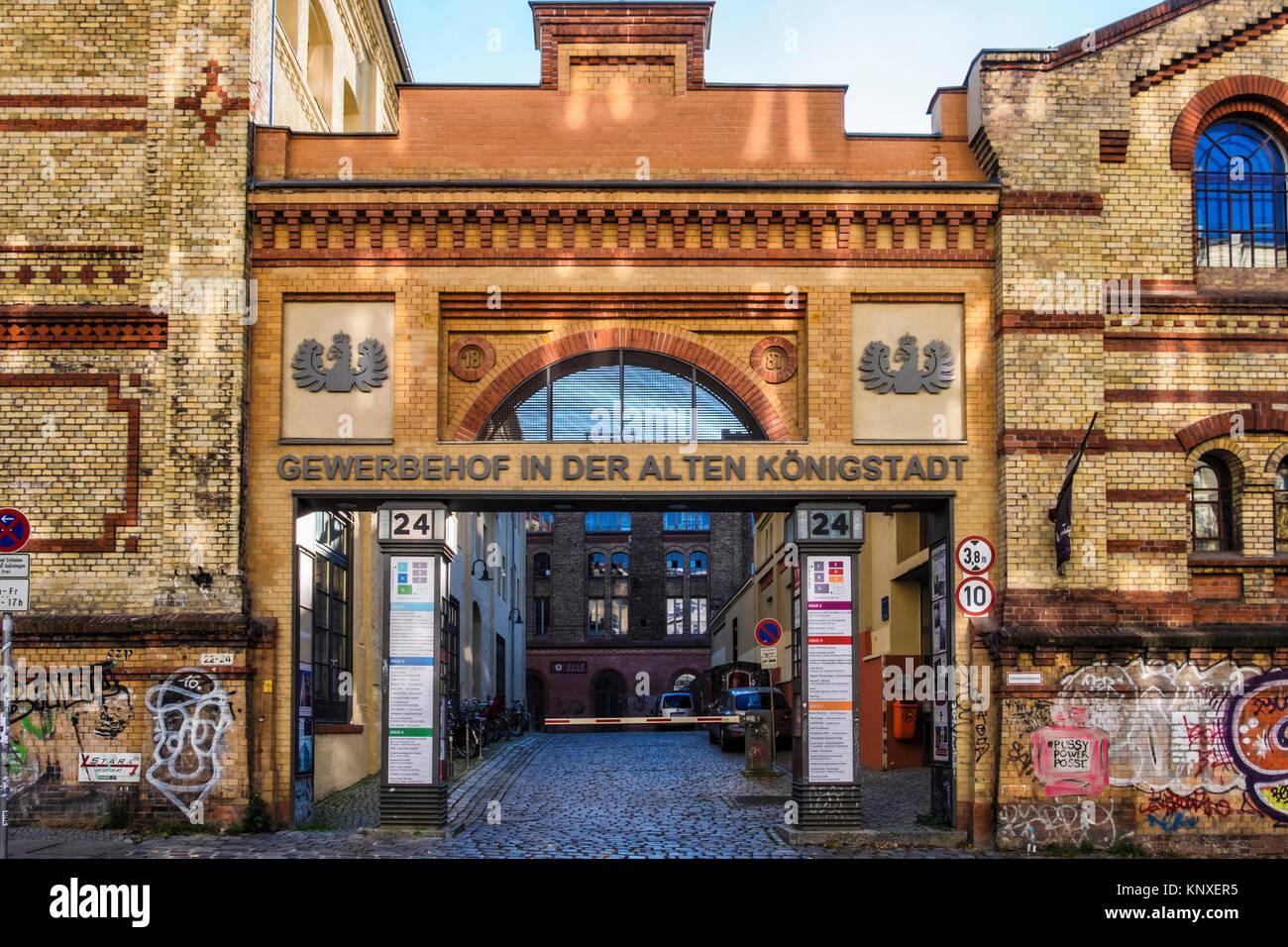 Berlin,Prenzlauerberg, Former Königstadt brewery. Resident companies form co-operative & buy building in - Stock Image