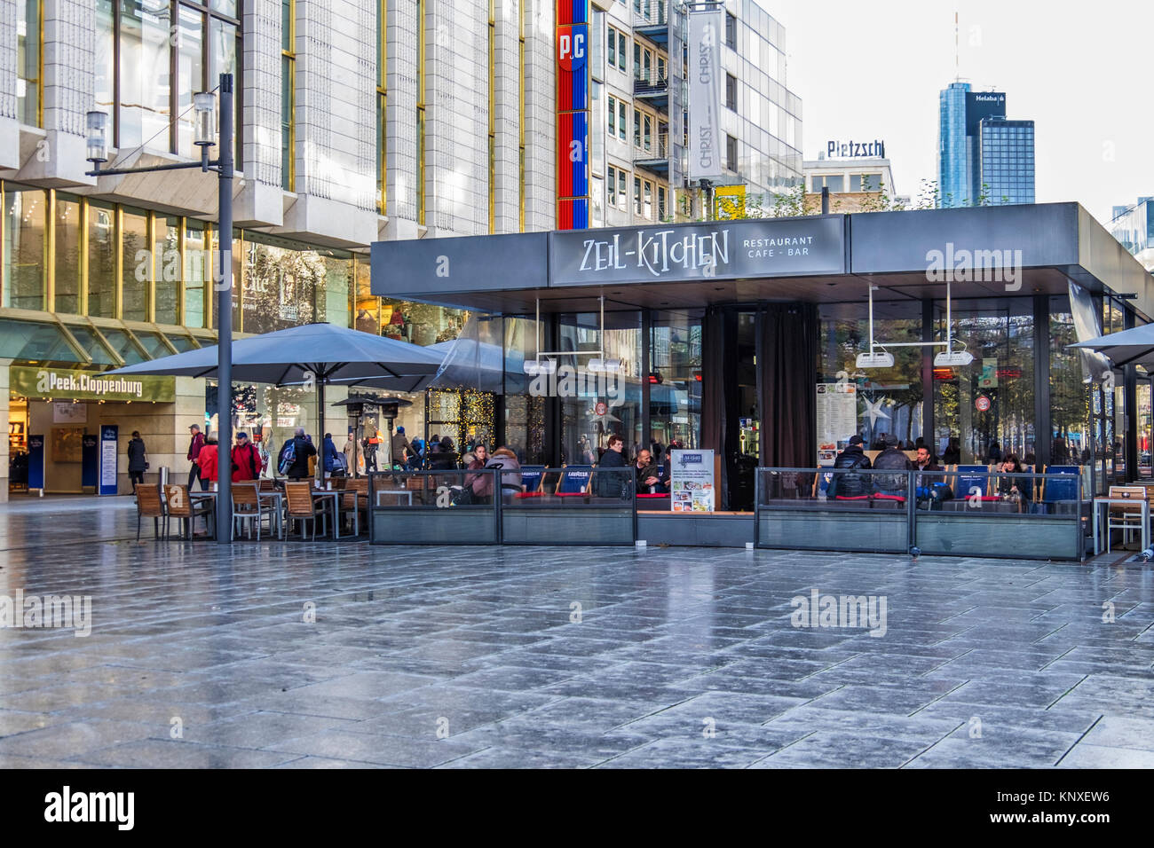 Frankfurt,Germany. Zeil Kitchen cafe, bar & restaurant with outdoor dining area on Zeil Shopping promenade, - Stock Image