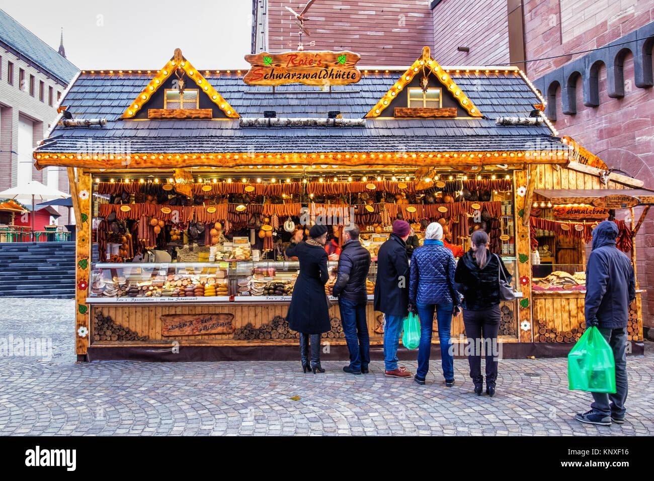 Frankfurt,Germany. Traditional German Market stall on Römerberg  selling sausages and German food delicacies - Stock Image