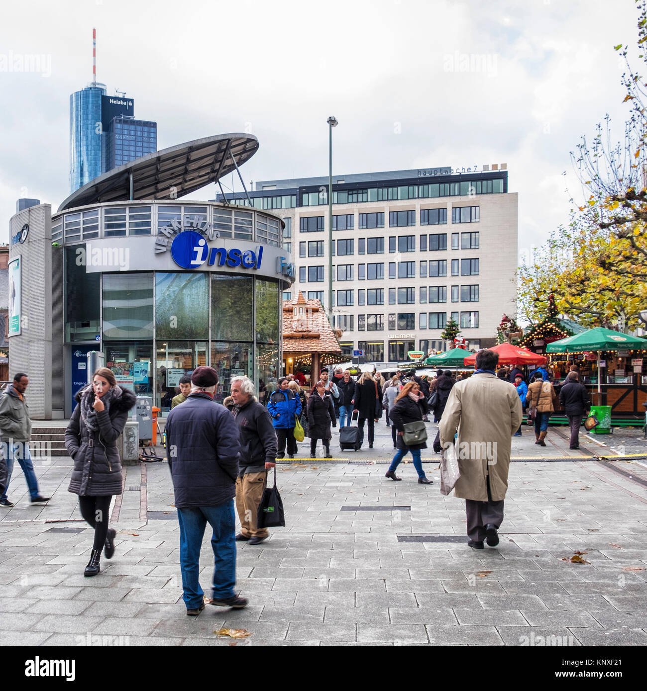 Germany,Frankfurt,TraffiQ Mobility Center on Hauptwache square provides information for commuters about transport,travel,commuting - Stock Image