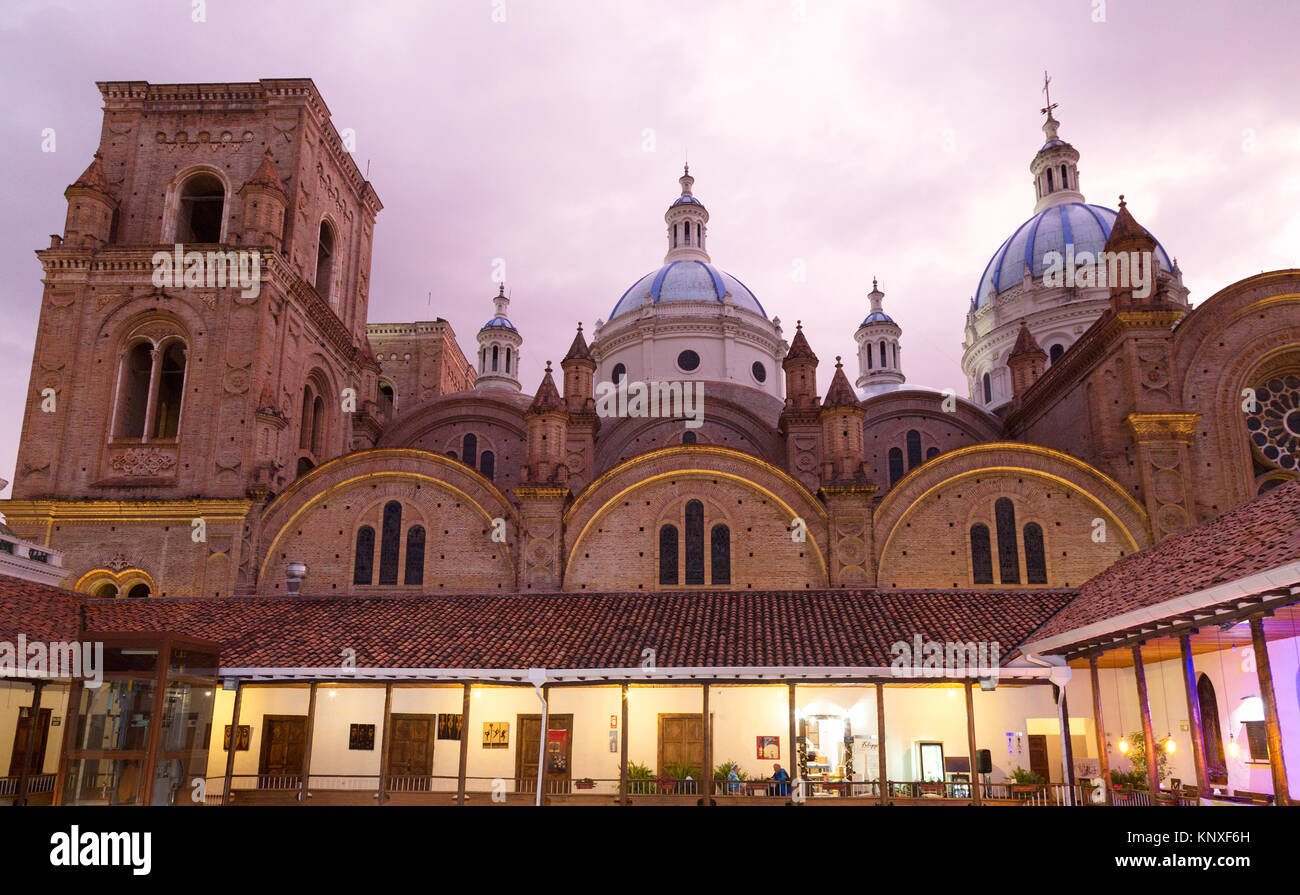 Cuenca, Ecuador - the Cathedral of the Immaculate Conception ( Catedral de la Inmaculada Concepción ), at sunset, - Stock Image