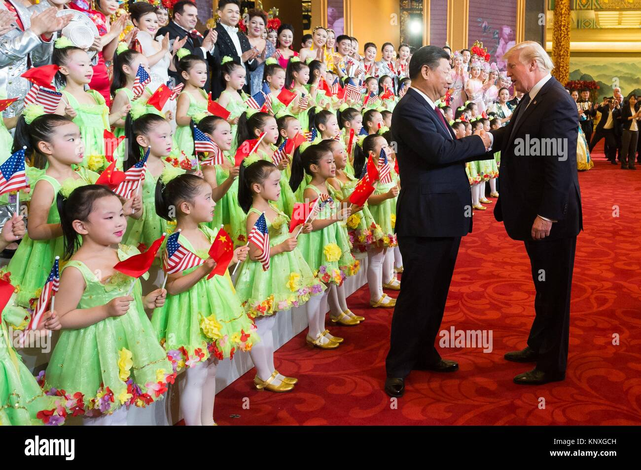 U.S. President Donald Trump thanks Chinese President Xi Jinping following a cultural performance at the Great Hall - Stock Image