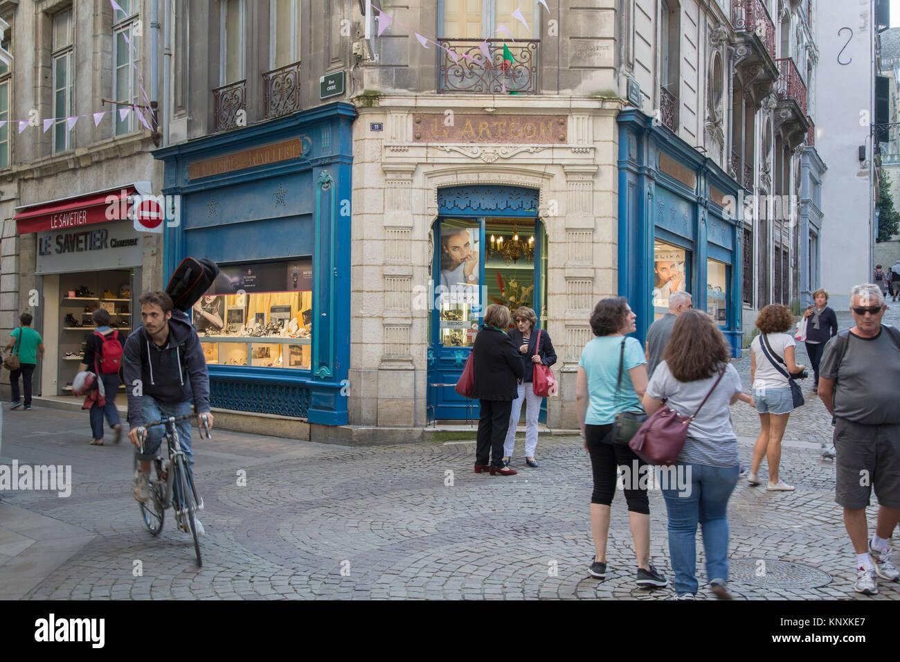 Cote Basque Philatelie Shop; Rue de la Monnaie Street; Bayonne; France; Stock Photo