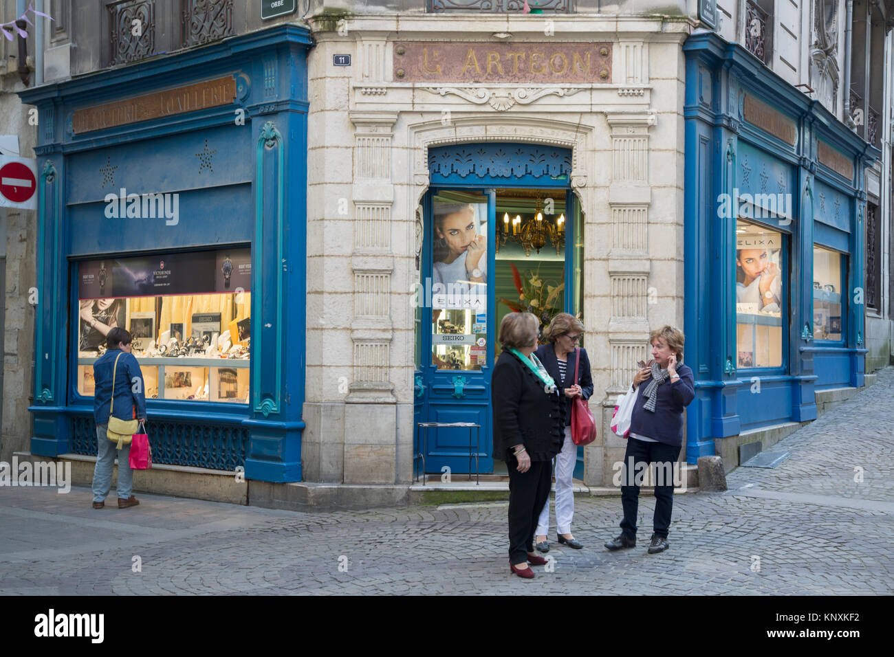 Cote Basque Philatelie Shop; Rue de la Monnaie Street; Bayonne; France Stock Photo