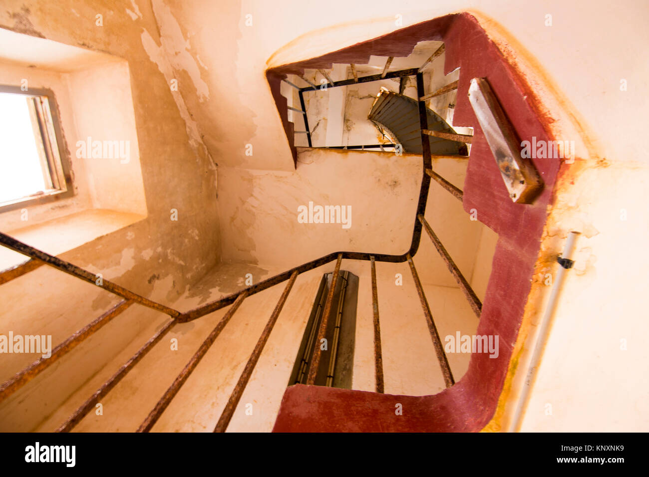 Upward View Of Rustic Spiral Staircase Leading To Top Of A Lighthouse In  Cape Verde Island