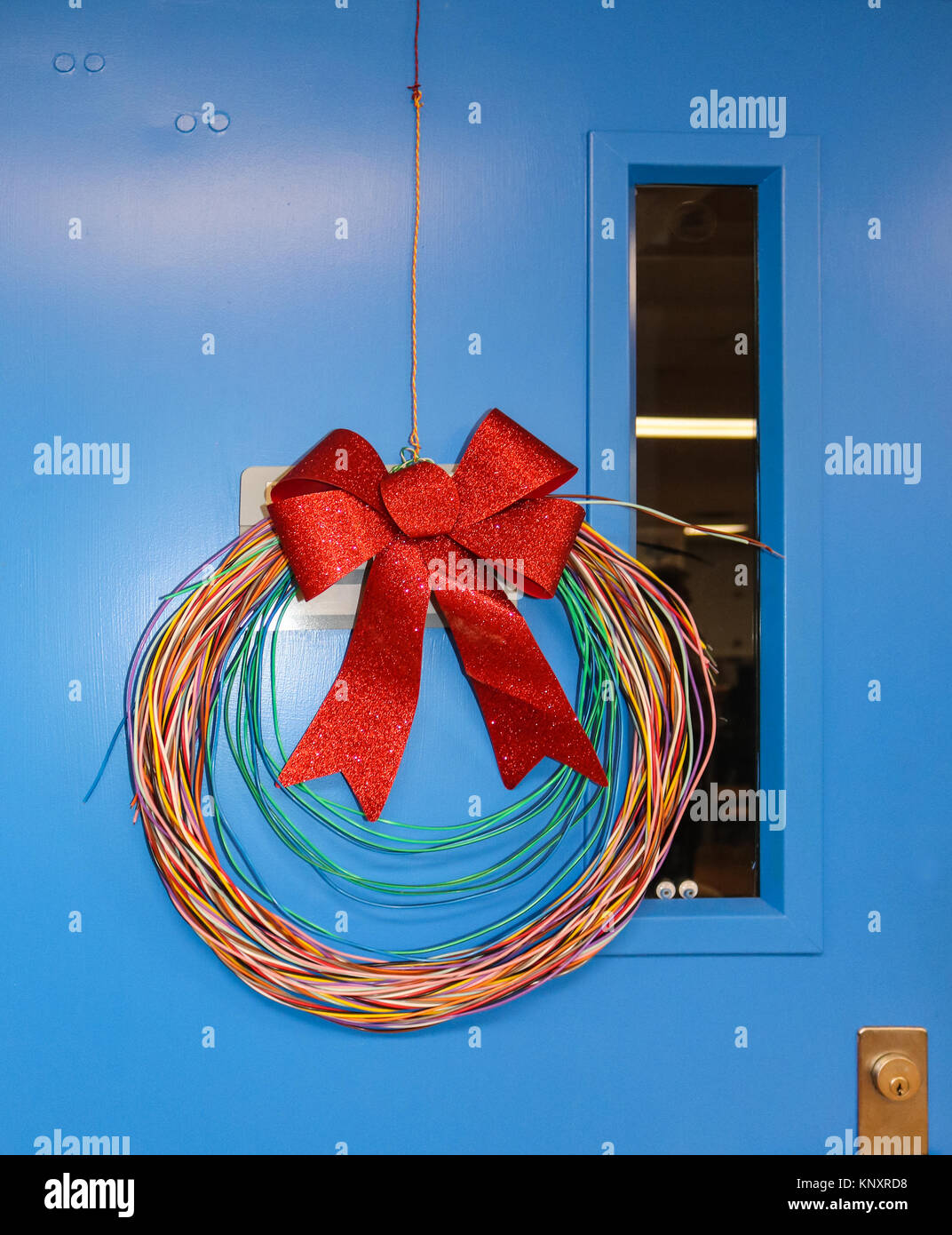 Network Cabling Christmas wreath with glittery bow hung on blue door with googly stick on eyeballs staring out - Stock Image