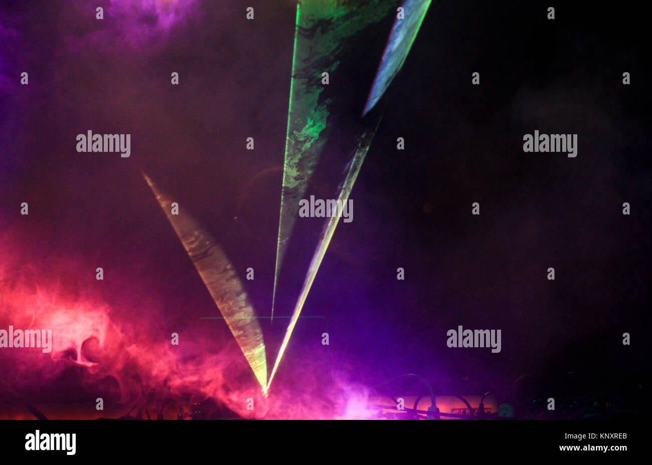 Many bands of light of many colors. - Stock Image