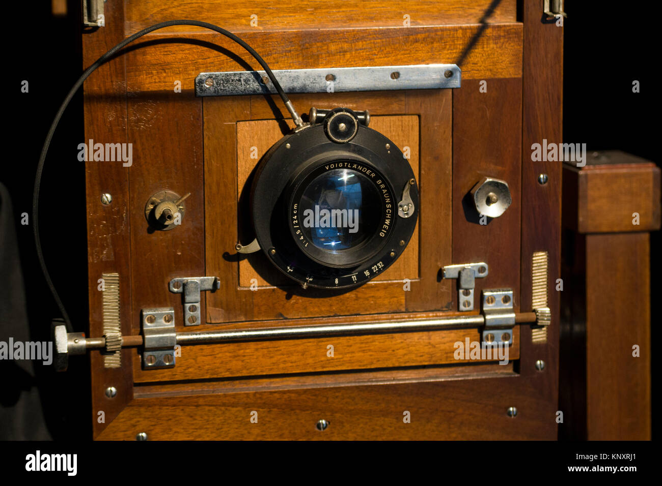 an old vintage camera built in wood - Stock Image