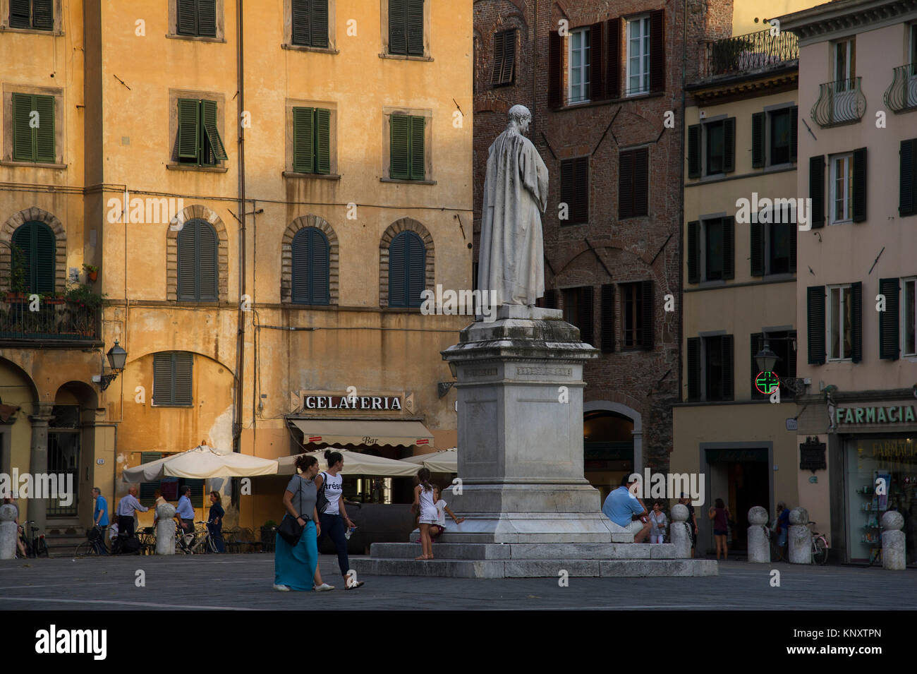 Monument of Francesco Burlamacchi on Piazza San Michele built over the ancient Roman forum in Historic Centre of - Stock Image