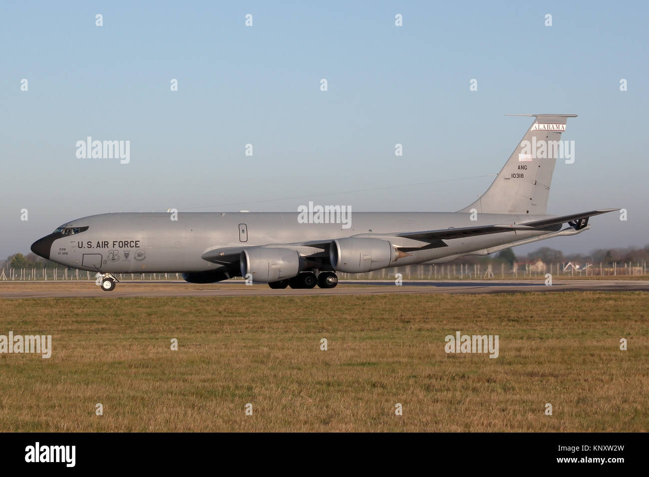 KC-135R from the Alabama Air National Guard turning onto runway 29 at RAF Mildenhall, Suffolk, for a early morning - Stock Image
