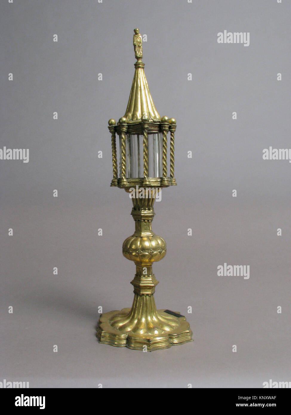 Reliquary. Date: 16th century; Culture: Italian; Medium: Copper-gilt, rock crystal, silver and niello plaque; Dimensions: - Stock Image
