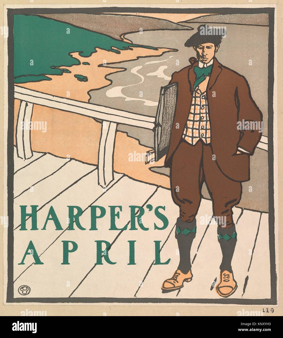 Harper's: April. Artist: Edward Penfield (American, Brooklyn, New York 1866-1925 Beacon, New York); Publisher: - Stock Image