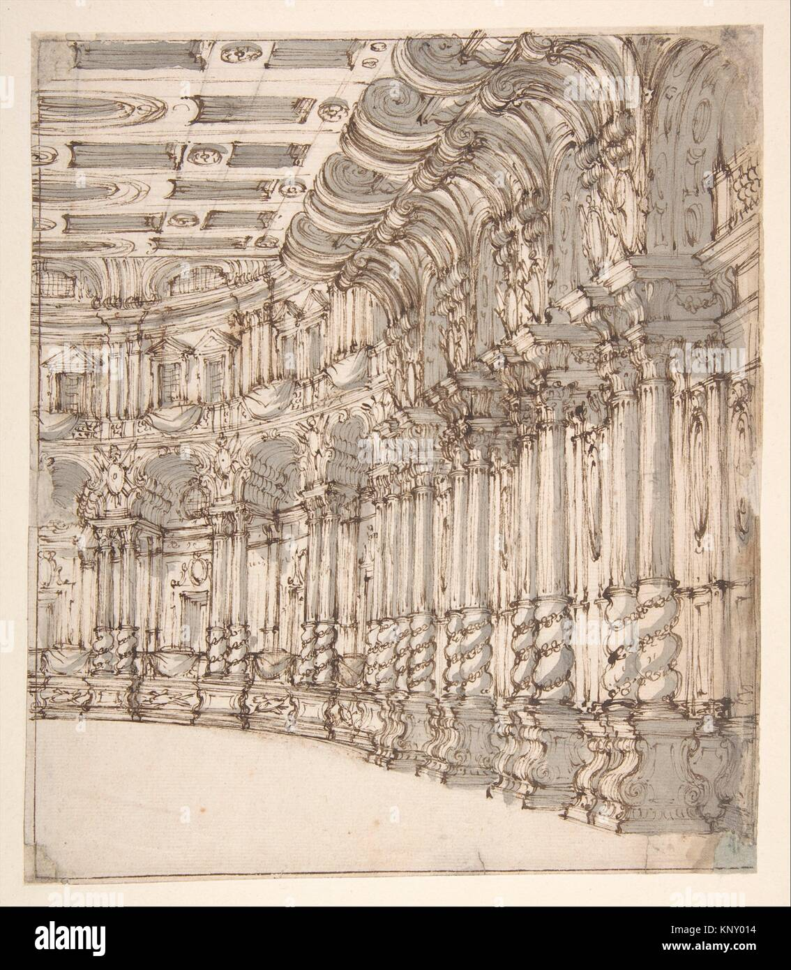Design for a Stage Set: Interior of a Ballroom or Theater with Torqued Columns and Large Volutes Above. Artist: - Stock Image