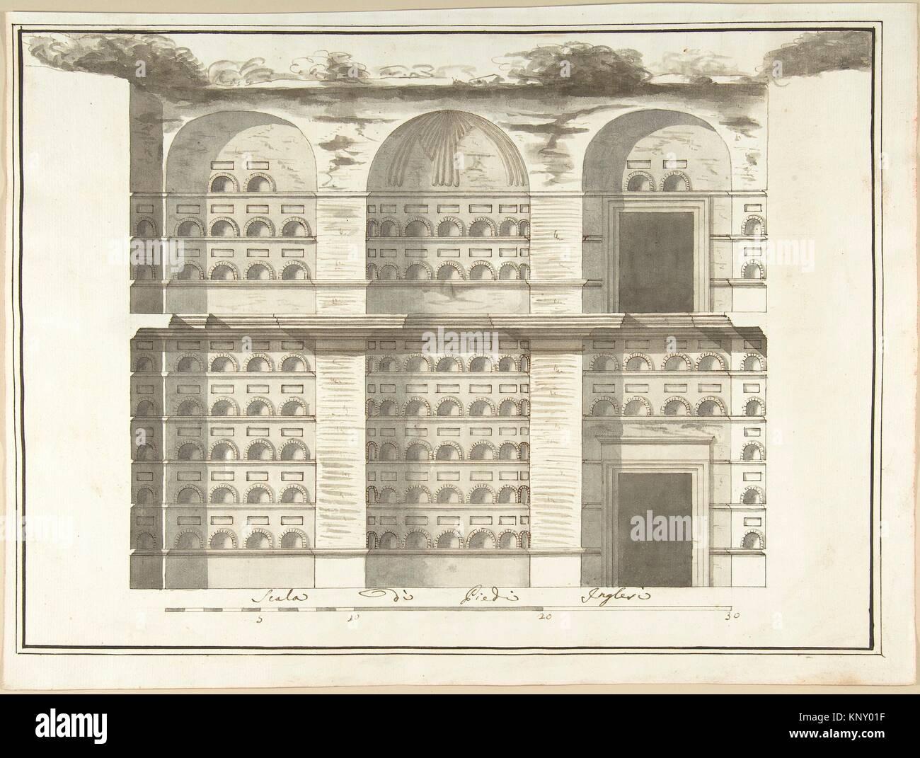 Section (Interior Elevation) of a Columbarium. Artist: Pietro Paolo Coccetti (Cocchetti) (Italian, documented Rome, - Stock Image