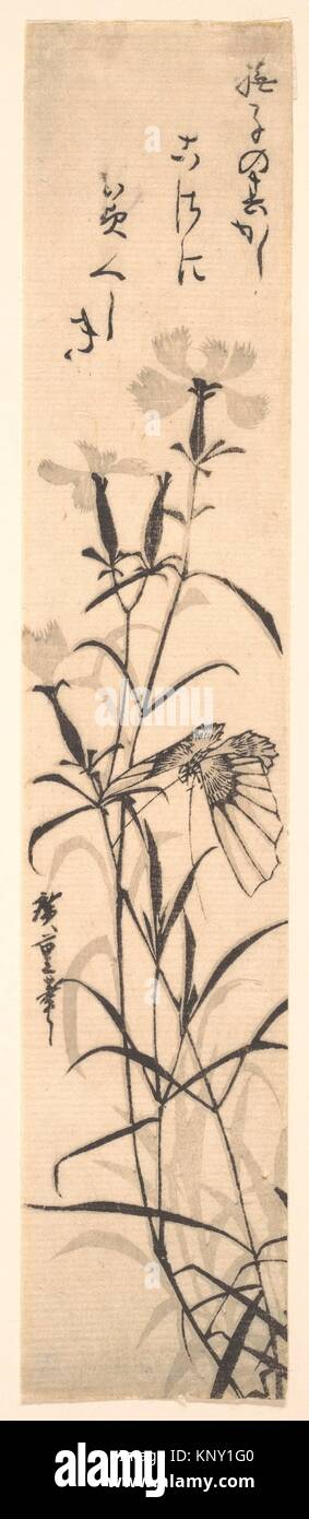 Black and White Print of Butterfly and Flower (a Pink). Artist: Utagawa Hiroshige (Japanese, Tokyo (Edo) 1797-1858 - Stock Image