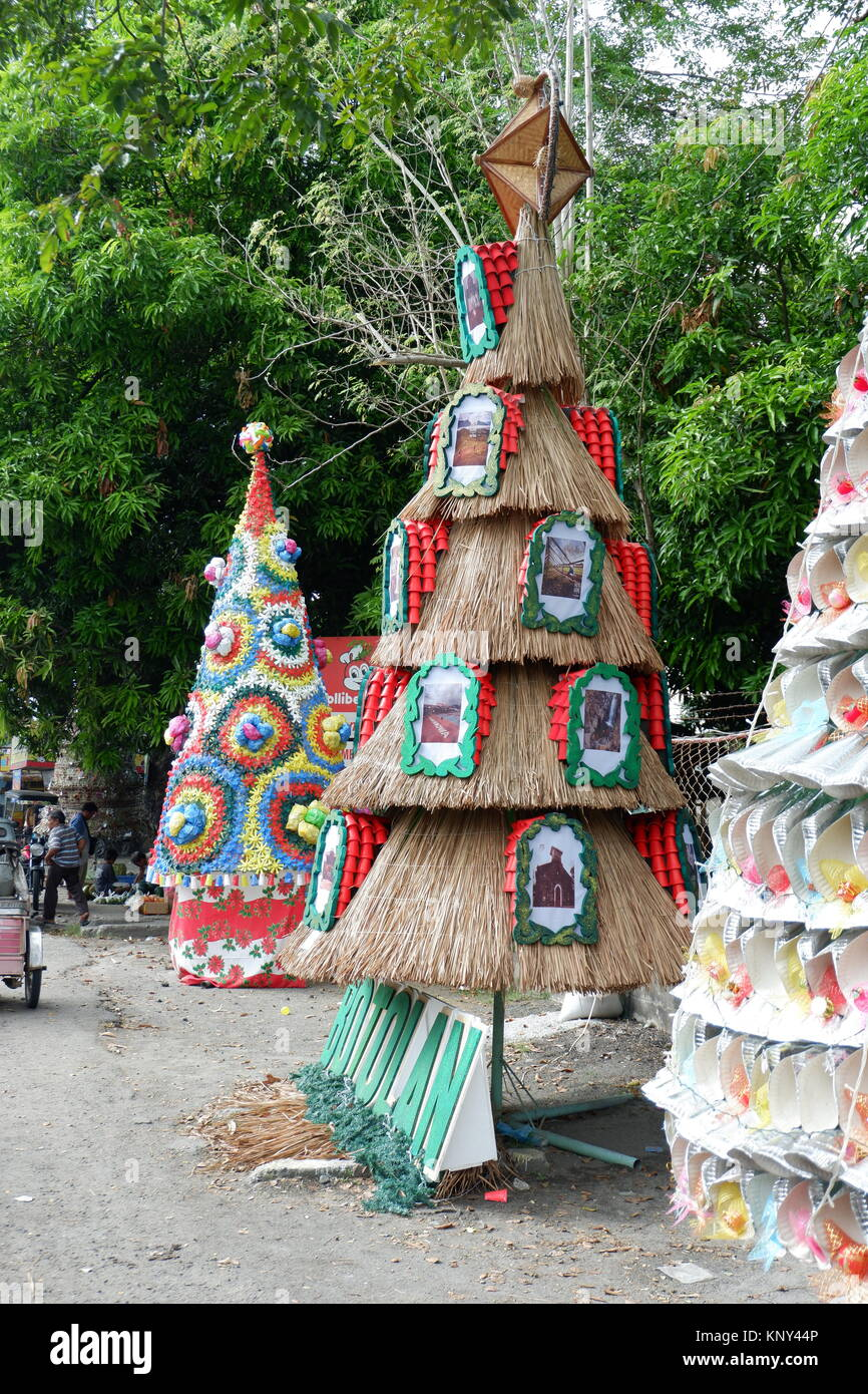 Christmas Tree Using Recycled Materials.Amazing And Colorful Background Of Christmas Trees Made From