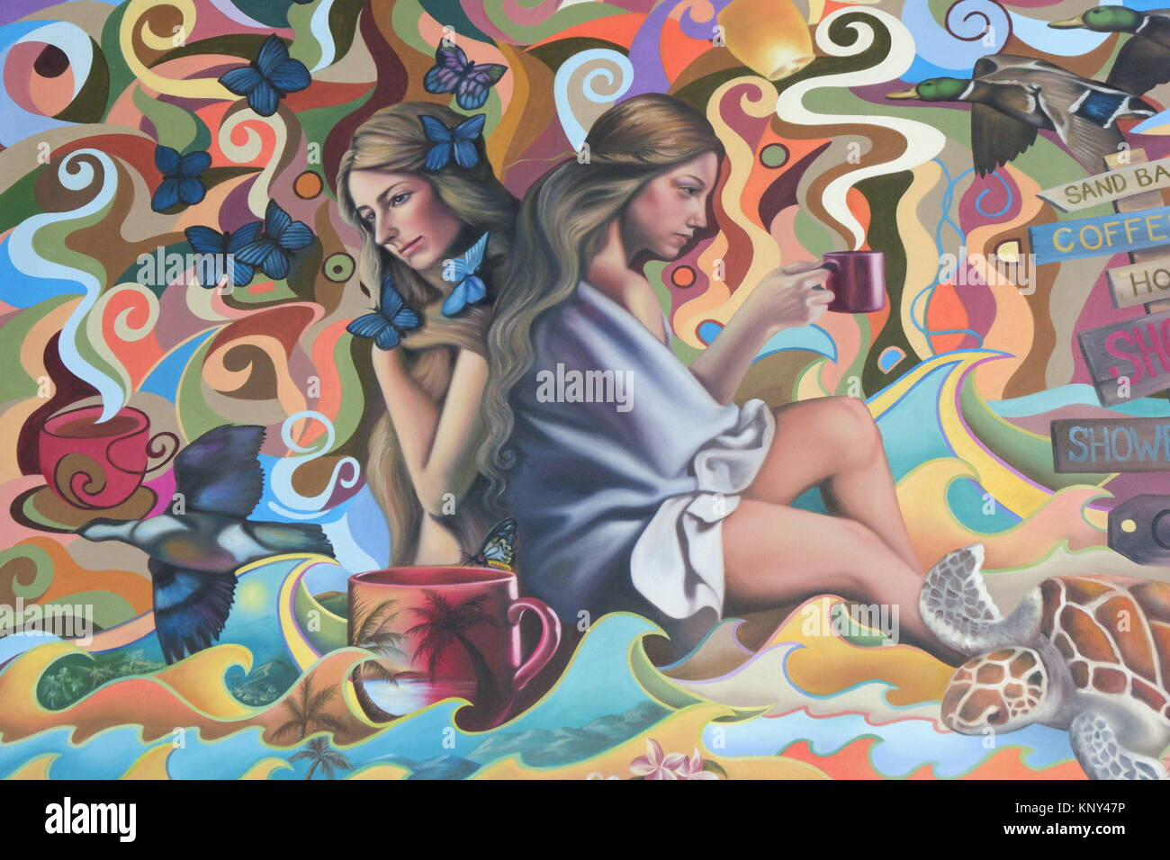 A Painting of a woman on the wall - Stock Image