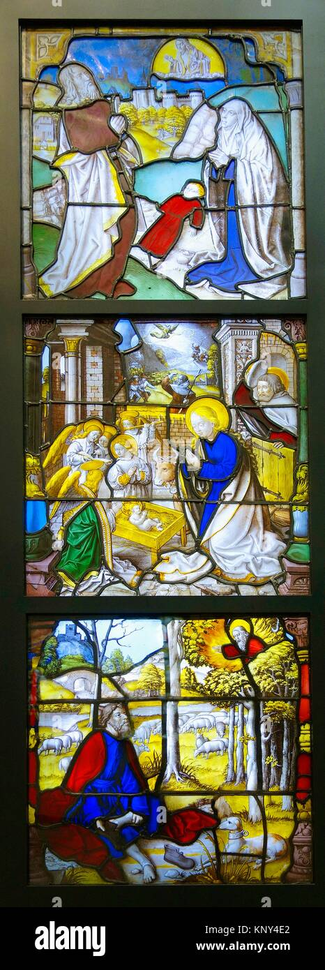 Stained glass from Mariawald. Glass, with paint and silver stain. Germany. Lower Rhine. About 1520-1530. The Victoria - Stock Image