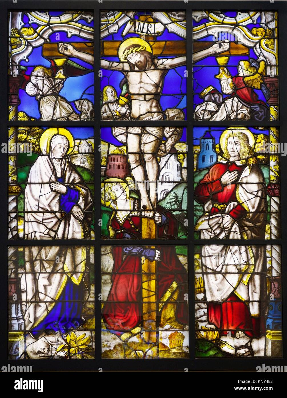 Stained glass. The Crucifixion. Clear and coloured glass, with paint and silver stain. Germany. Lower Rhine. About - Stock Image
