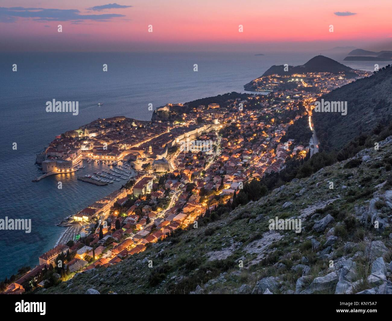 Dubrovnik Croatia Overview at Night. - Stock Image