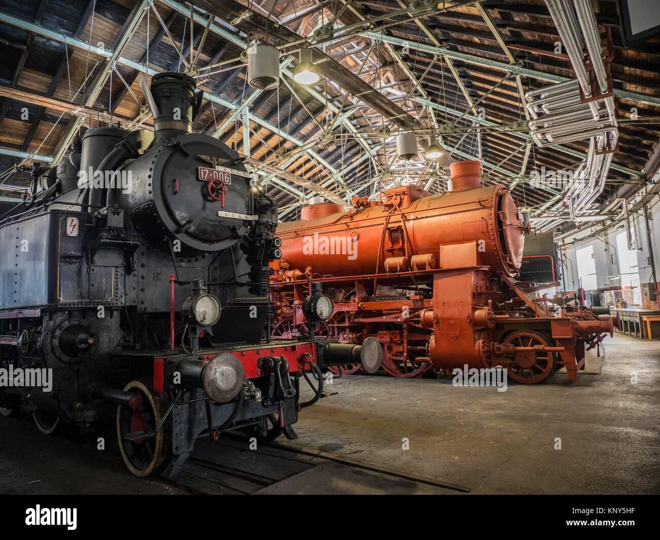Slovenia Ljubljana Train Museum Locomotive. - Stock Image