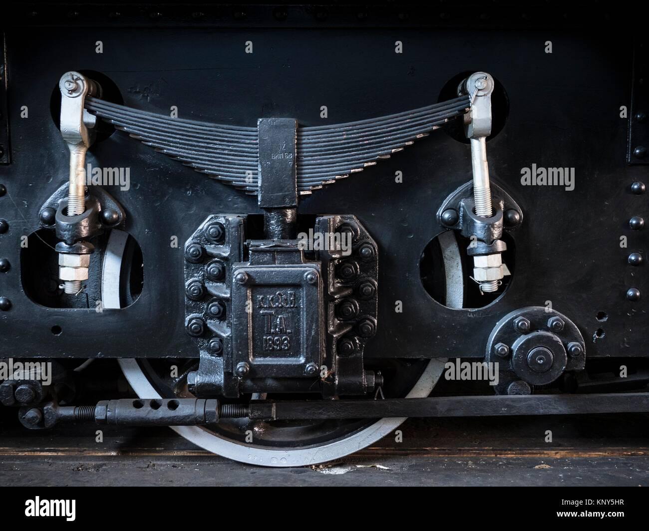 Slovenia Ljubljana Train Museum Locomotive Wheels Closeup. - Stock Image