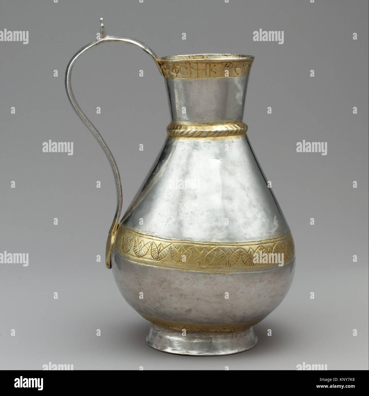Ewer of Zenobius MET dp30669 464113 Avar or Byzantine, Ewer of Zenobius, 700s, Silver, partial-gilt, 9 1/8 ? 5 1/16 - Stock Image