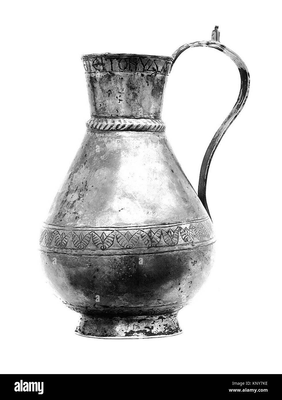 Ewer of Zenobius MET 40786 464113 Avar or Byzantine, Ewer of Zenobius, 700s, Silver, partial-gilt, 9 1/8 ? 5 1/16 - Stock Image