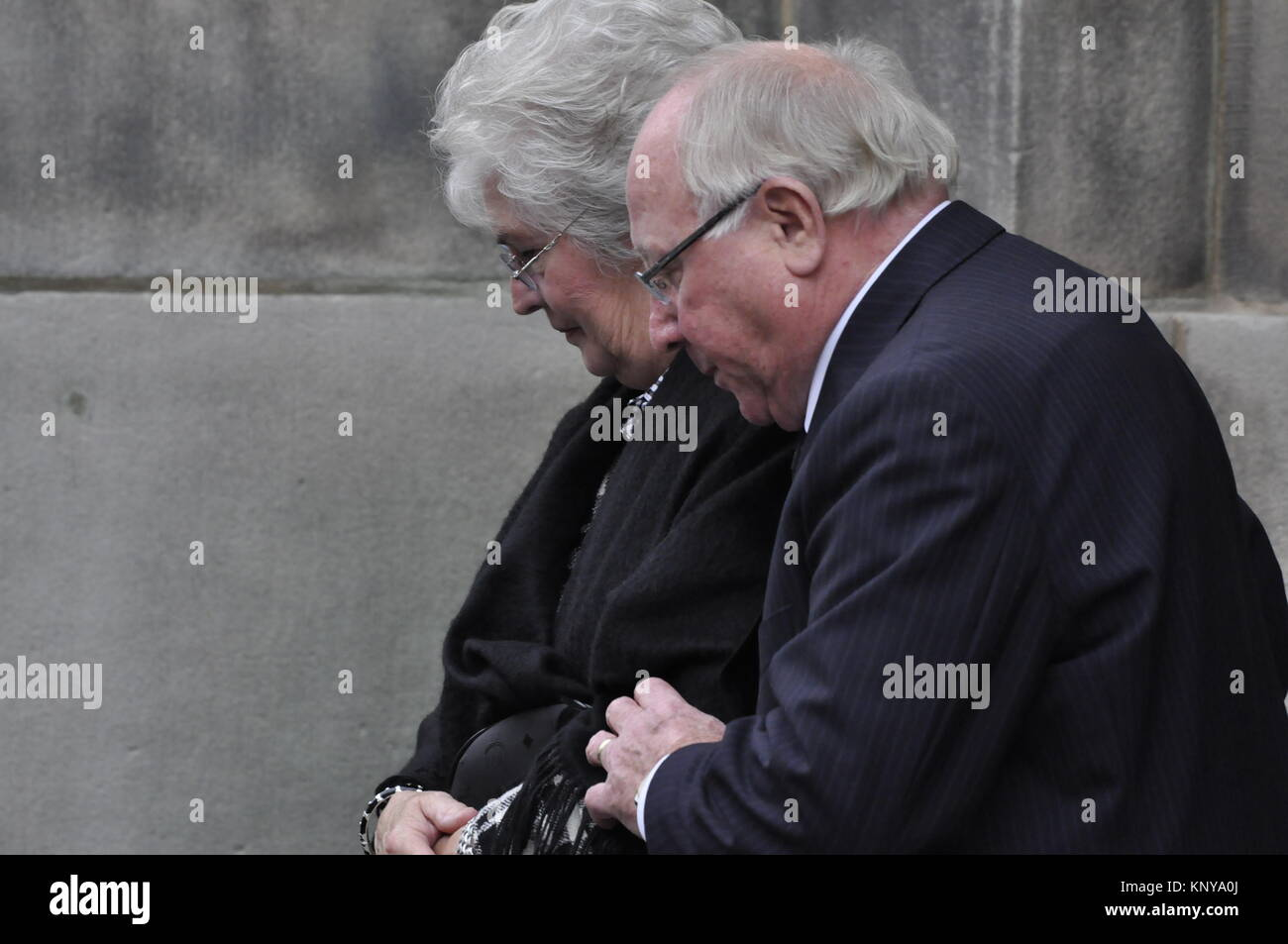 Uwe Seeler nach der Trauerfeier für Loki Schmidt, St. Michaeliskirche, Hamburg, Deutschland - Stock Image