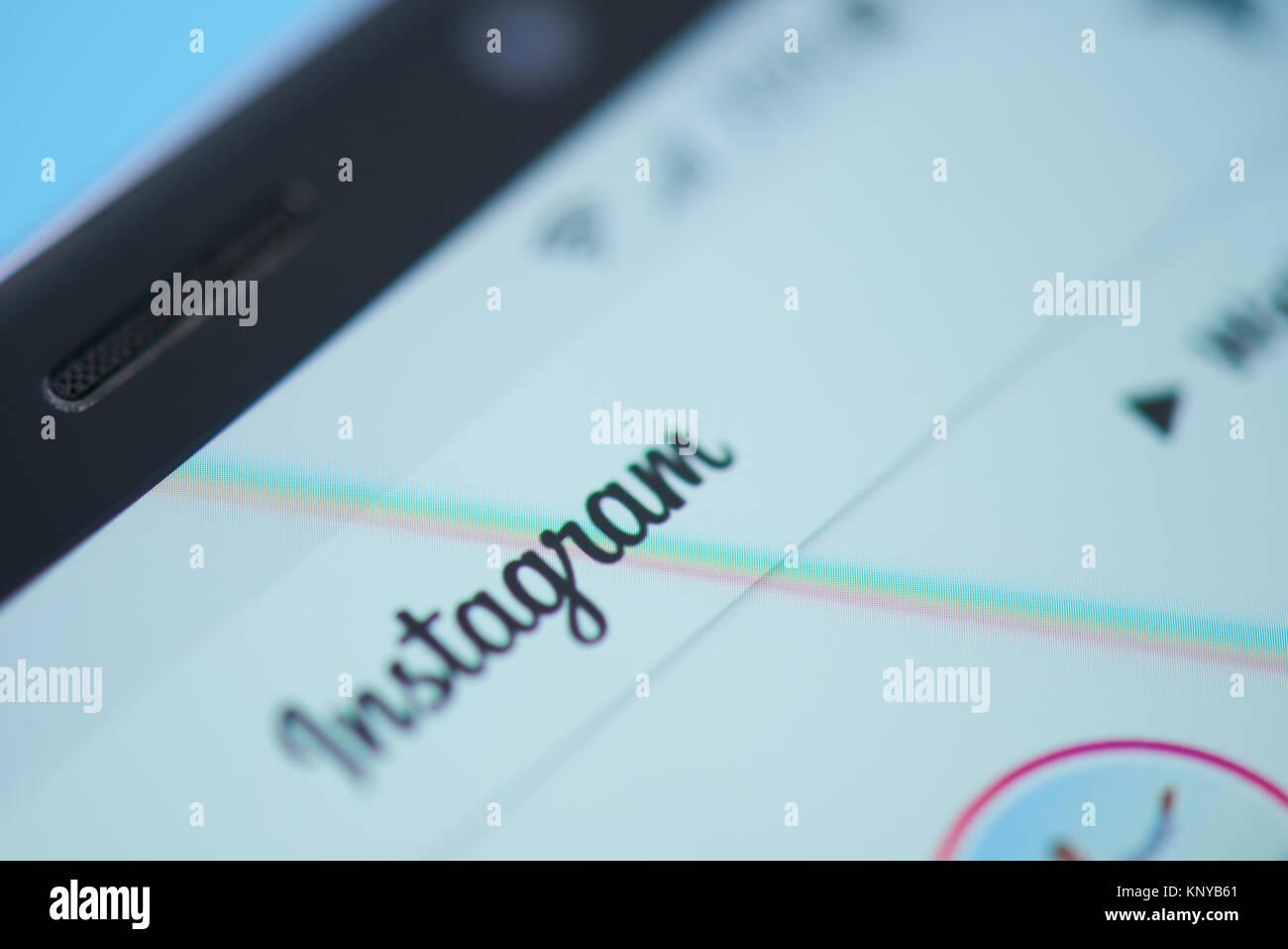 New york, USA - December 12, 2017:Instagram social media moblie menu application menu on smartphone screen close Stock Photo