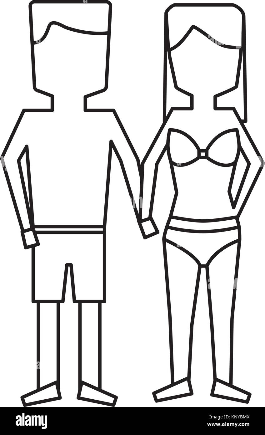 man and woman holding hands in swimwear - Stock Image