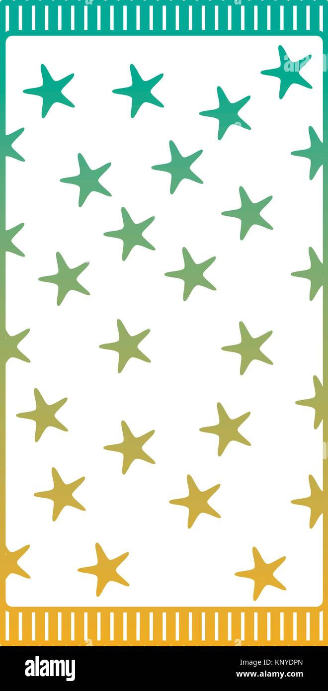 beach towel with stars top view isolated on white background - Stock Vector