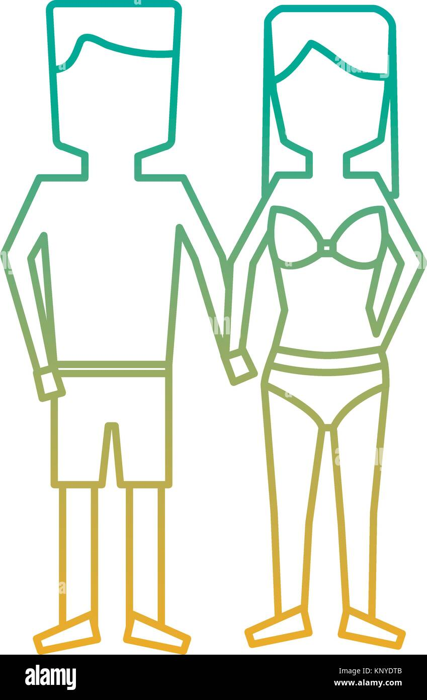 man and woman holding hands in swimwear - Stock Vector