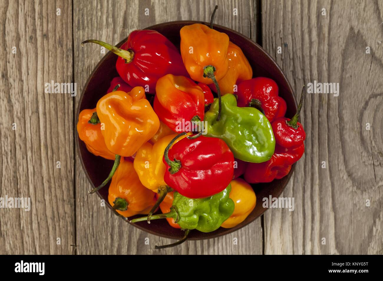 bowl of habanero chili peppers Stock Photo