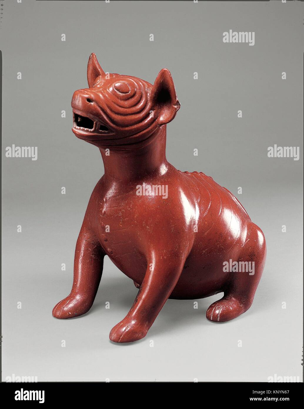 Snarling Dog. Date: 200 B.C.-A.D. 300; Geography: Mexico, Mesoamerica, Colima; Culture: Colima; Medium: Ceramic; - Stock Image
