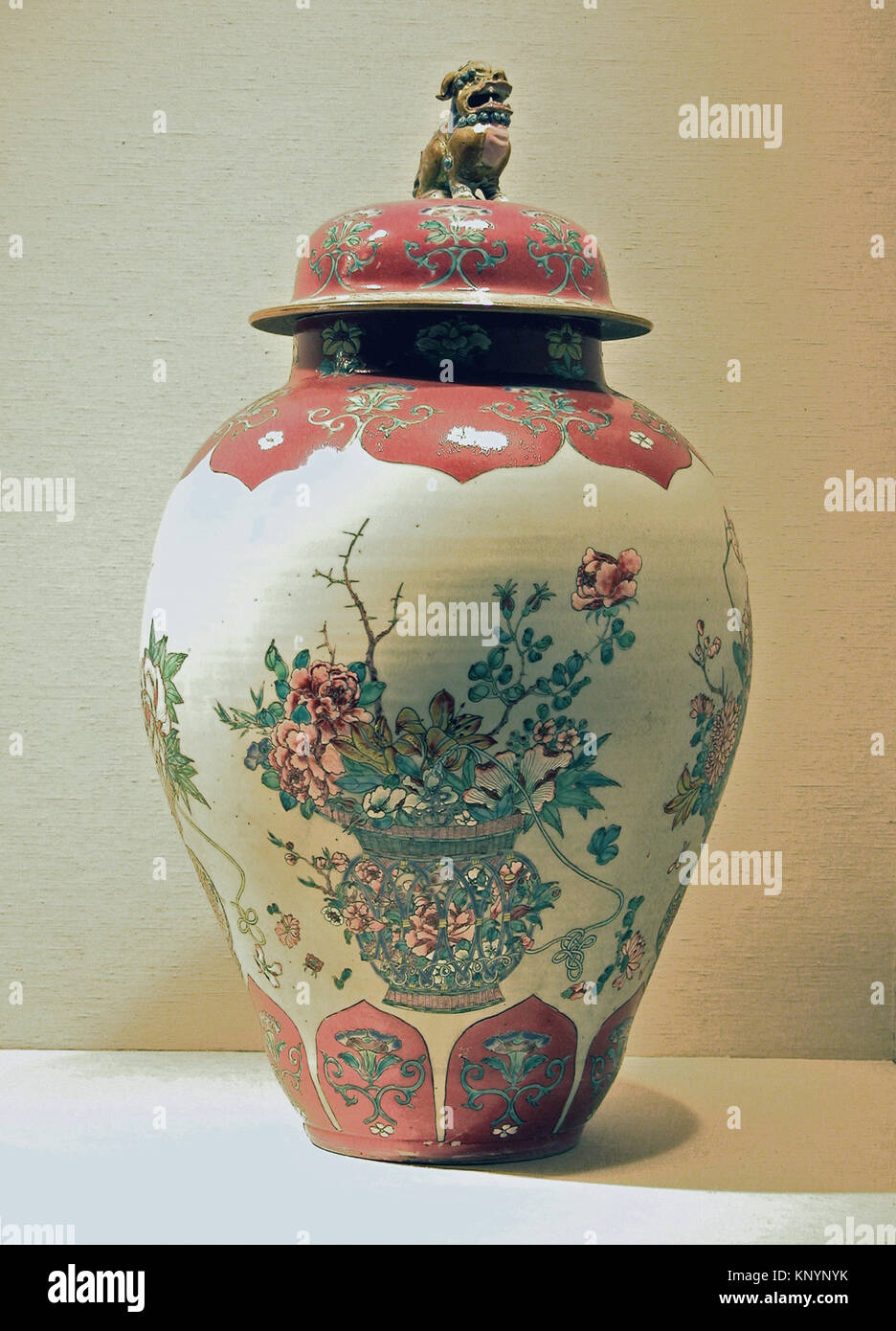 Jar with Basket of Auspicious Flowers. Period: Qing dynasty (1644-1911), Qianlong period (1736-95); Date: 18th century; - Stock Image