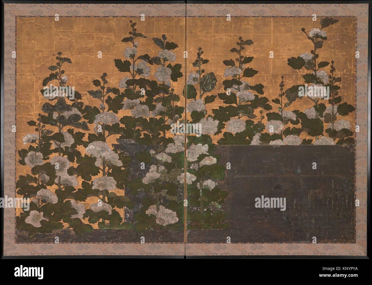 Hollyhocks. Period: Edo period (1615-1868); Date: 17th century; Culture: Japan; Medium: Two-panel folding screen; Stock Photo